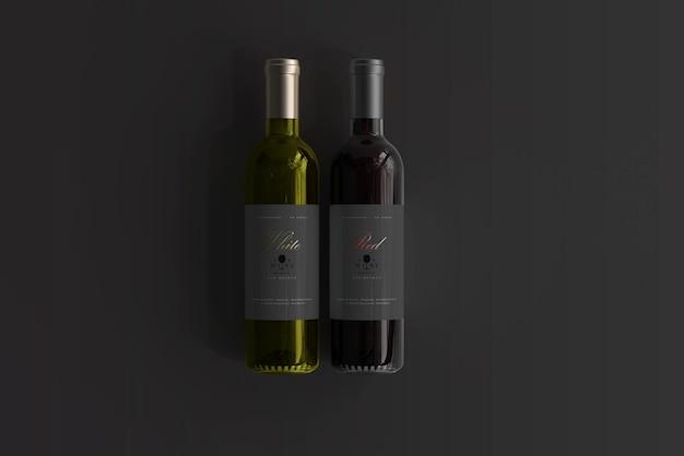 Maquette de bouteille de vin rouge et blanc