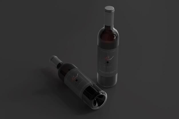 Maquette de bouteille de vin rouge