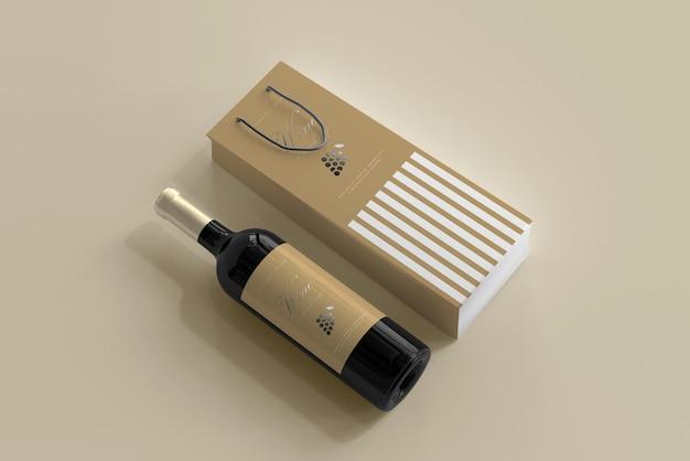 Maquette de bouteille de vin avec sac