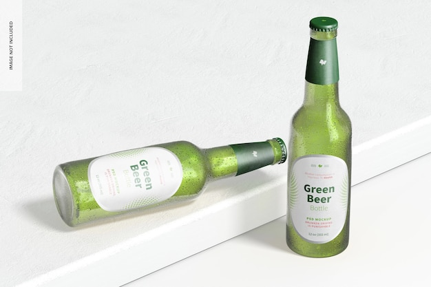 Maquette de bouteilles de bière verte, perspective