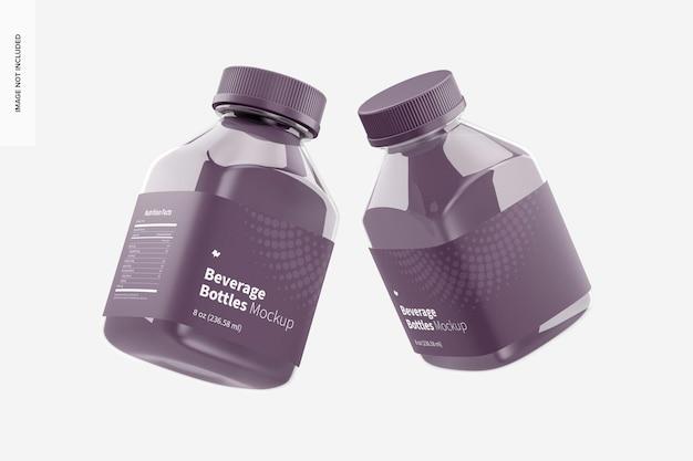 Maquette de bouteilles de boisson de 8 oz, flottante