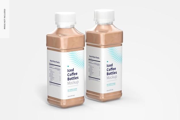 Maquette de bouteilles de café glacé de 16 oz