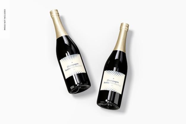 Maquette De Bouteilles De Champagne, Vue De Dessus Psd gratuit