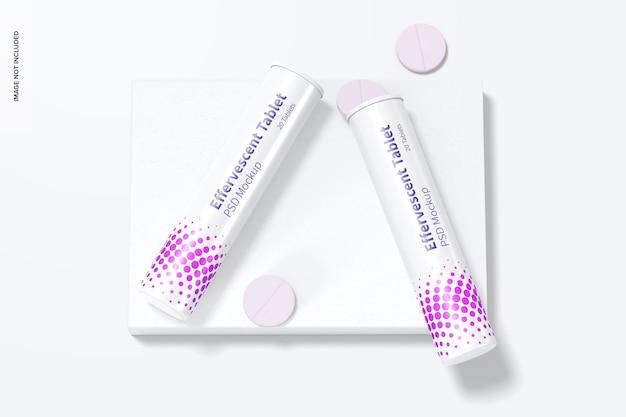 Maquette de bouteilles de comprimés effervescentes, vue de dessus