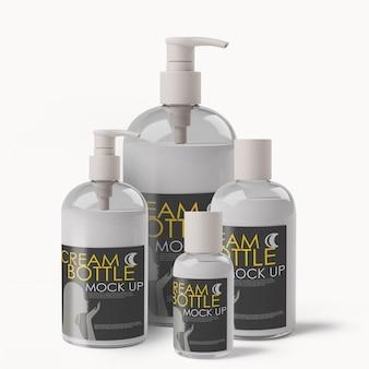 Maquette de bouteilles de distributeur de cosmétiques