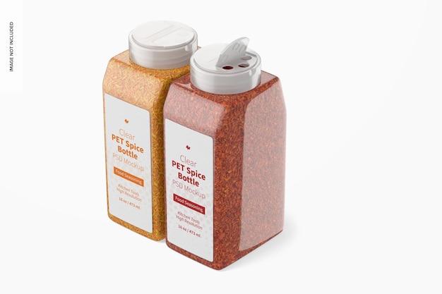 Maquette de bouteilles d'épices en pet transparent de 16 oz, fermées et ouvertes