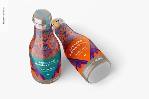 Maquette de bouteilles d'étiquettes complètes de 12 onces, debout et abandonnées