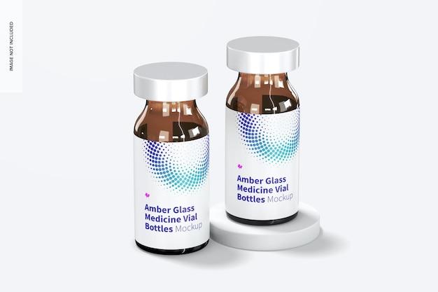 Maquette de bouteilles de flacon de médicament en verre ambré