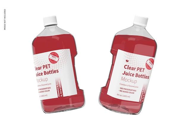 Maquette de bouteilles de jus en pet transparent de 64 oz, flottante