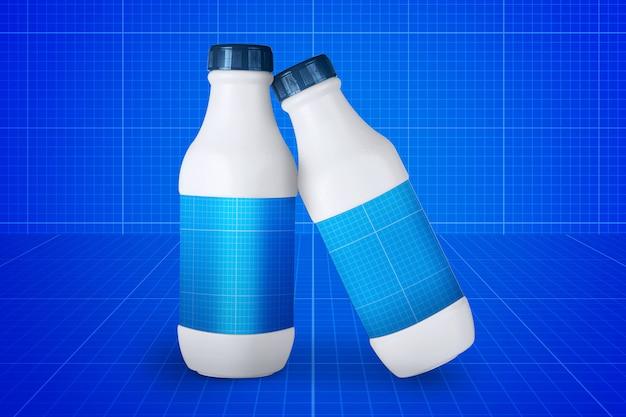 Maquette de bouteilles de lait
