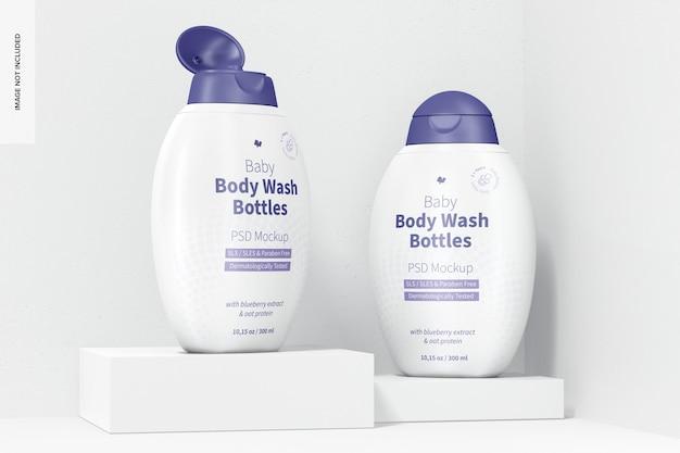 Maquette de bouteilles de lavage corporel pour bébé, ouverte et fermée