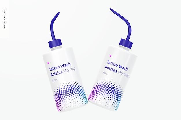 Maquette de bouteilles de lavage de tatouage, flottante