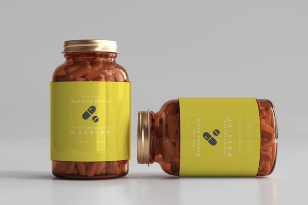 Maquette de bouteilles de médecine ambre