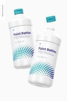 Maquette de bouteilles de peinture de 32 oz, flottante