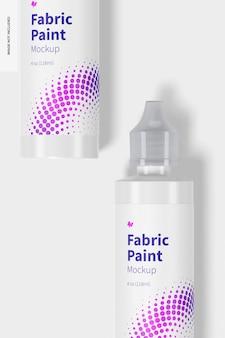 Maquette de bouteilles de peinture en tissu de 4 oz, vue de dessus