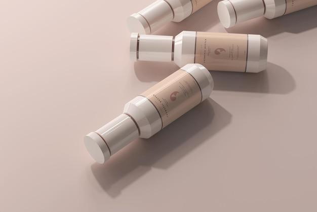 Maquette de bouteilles en plastique cosmétique
