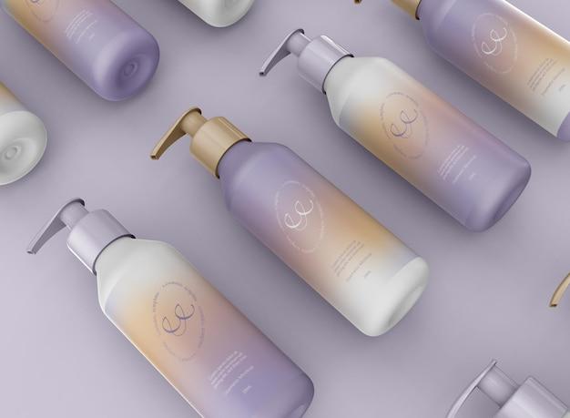 Maquette de bouteilles de pompe cosmétique