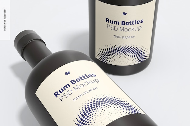 Maquette de bouteilles de rhum, gros plan