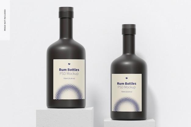 Maquette de bouteilles de rhum, perspective