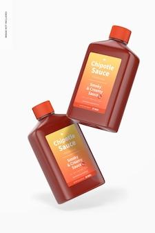 Maquette de bouteilles de sauce chipotle de 4 oz, flottant