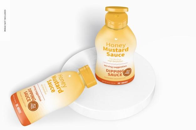 Maquette de bouteilles de sauce à la moutarde au miel de 12 oz