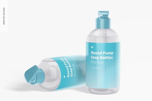 Maquette de bouteilles de savon à pompe ronde