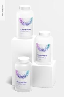 Maquette de bouteilles transparentes de 22 oz, vue de face