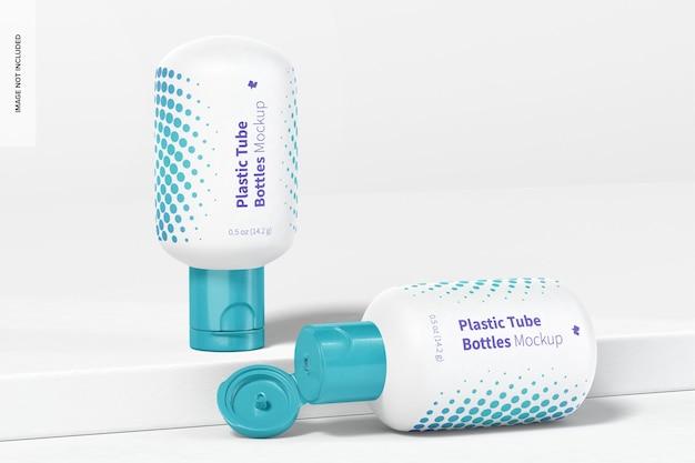 Maquette de bouteilles de tube en plastique, ouvertes et fermées