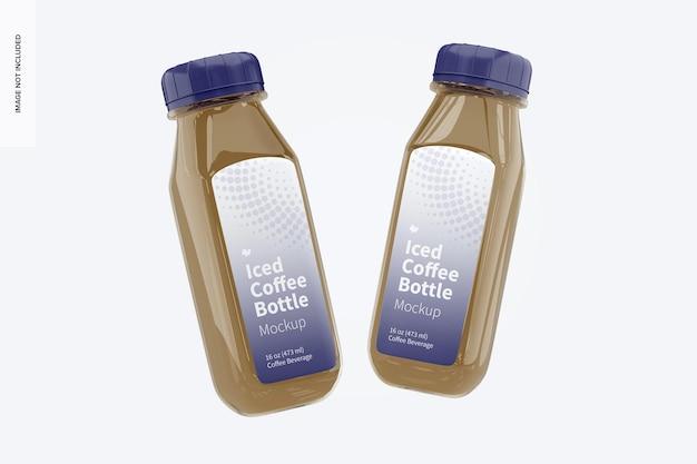 Maquette de bouteilles en verre de café glacé, flottante