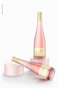 Maquette de bouteilles de vin rose