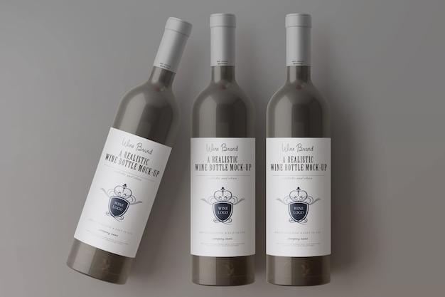 Maquette de bouteilles de vin