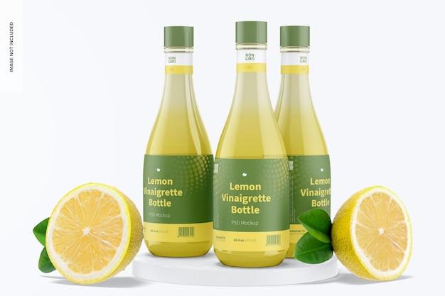 Maquette de bouteilles de vinaigrette au citron de 14,5 oz