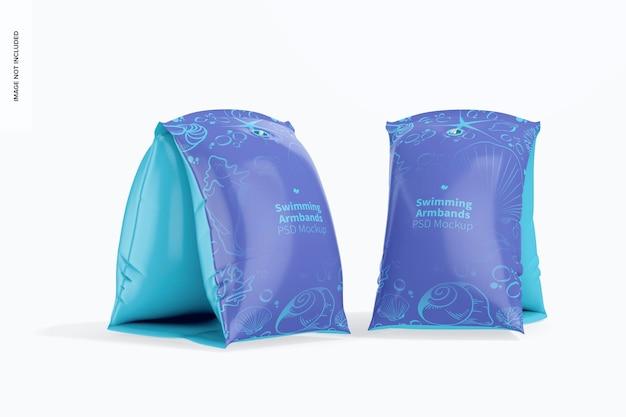 Maquette de brassards de natation gonflables, vue latérale et frontale