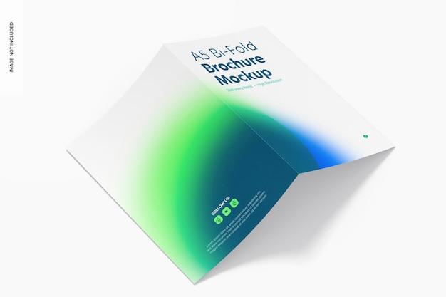 Maquette de brochure a5 à deux volets, vue de gauche