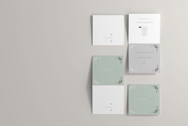 Maquette de brochure carrée horizontale à deux volets