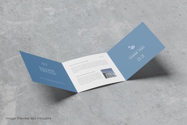 Maquette de brochure carrée à trois volets réaliste