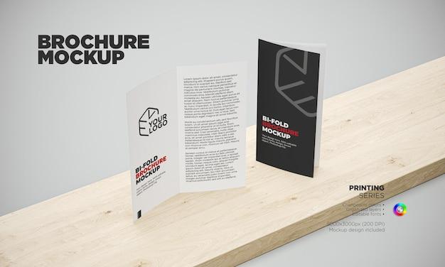 Maquette de brochure à deux volets vue en perspective