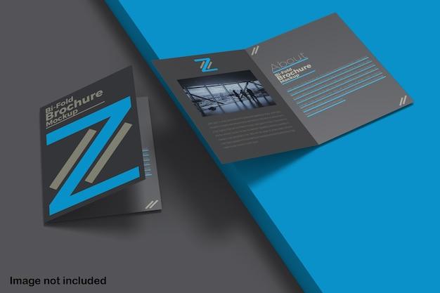 Maquette de brochure double pliante isolée