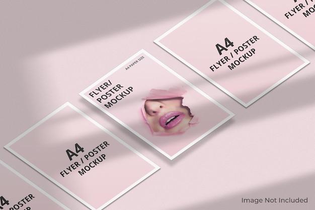 Maquette de brochure flyer a4 avec superposition d'ombre