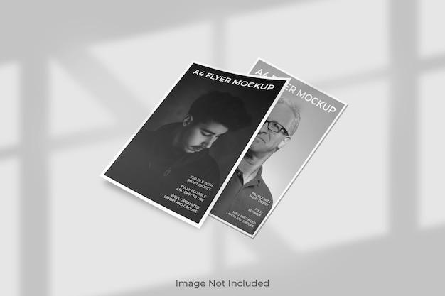Maquette de brochure flyer flottant avec ombre
