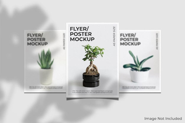 Maquette de brochure flyer réaliste avec superposition d'ombre