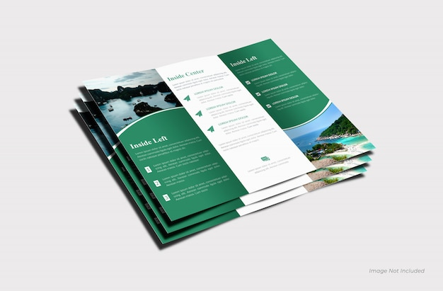 Maquette de brochure ouverte à trois volets vue de dessus