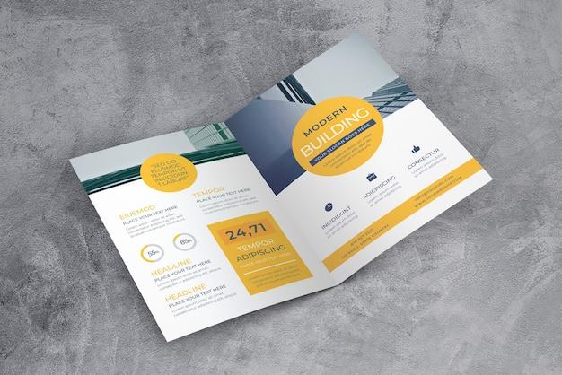 Maquette de brochure ouverte