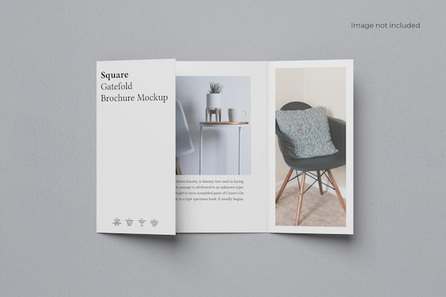 Maquette de brochure de pliage de porte carrée ouverte