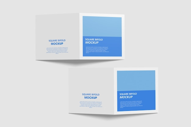 Maquette de brochure pliante carrée isolée
