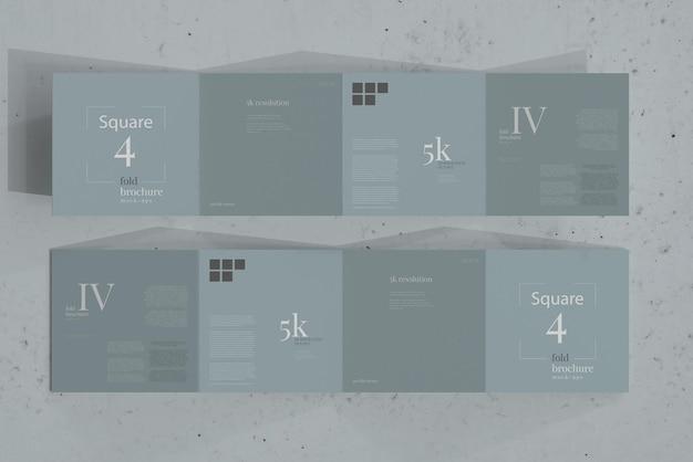 Maquette de brochure à quatre volets carrés