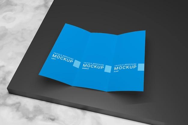 Maquette de brochure à trois volets vue de dessus premium psd