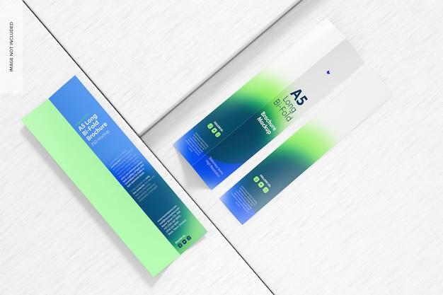 Maquette de brochures a5 longues à deux volets, vue de dessus