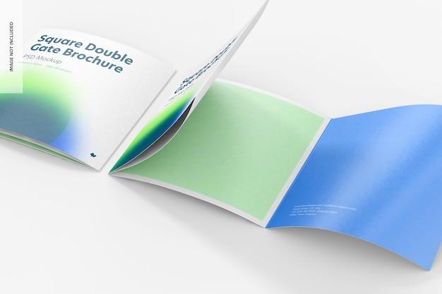 Maquette de brochures carrées à double porte