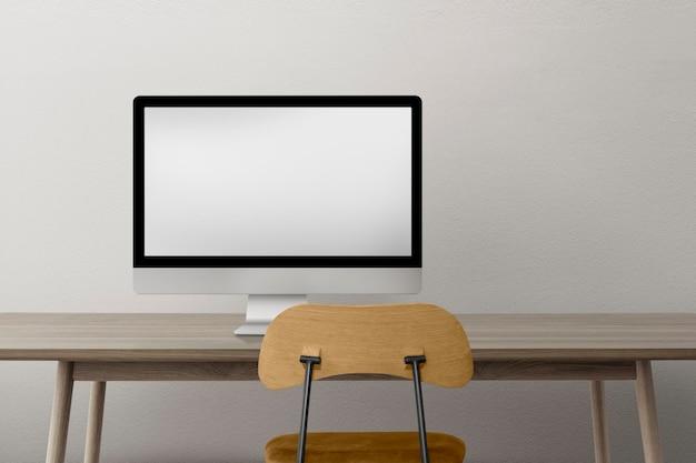 Maquette de bureau à domicile minimale psd avec intérieur de meubles en bois